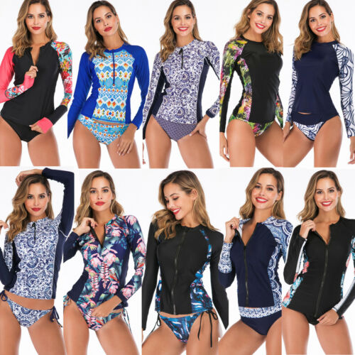 Women Two Piece Long Sleeve UV Sun Protection UPF 50+ Rash Guard Swimsuit Bikini