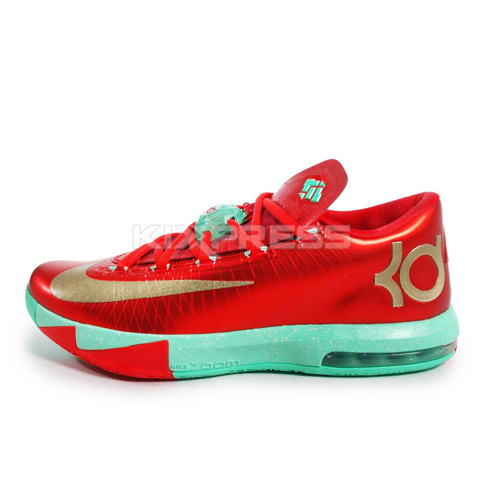 Nike KD VI [599424-601] Basketball Christmas Pack Lite Crimson/Gold-Green Glow Scarpe classiche da uomo