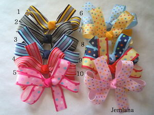 Jemlana-handmade-polk-dot-stripe-ribbon-hair-clips-for-girls-lots-style-to-pick