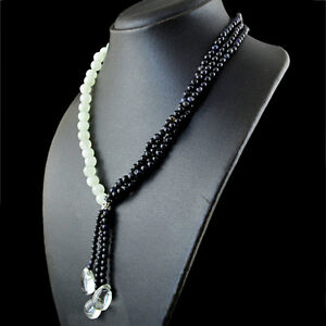 Round-Shape-292-00-Cts-Natural-Tanzanite-amp-Aquamarine-Beads-Necklace-RS
