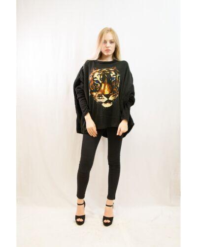 Taglia Teschio Top Tiger Skull tigre Fashion Lady Felpa 8 Uk Oversize Jumper 16 Stampa 67zfSqY