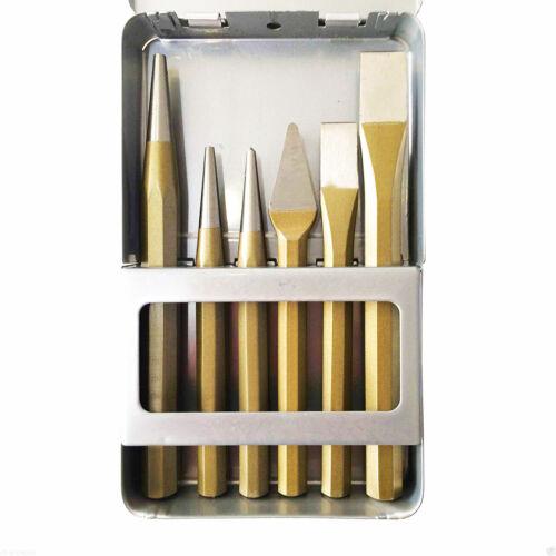 Schlagwerkzeuge Set 6-teilig 2x Durchtreiber 2x Meißel 1x Körner 1x Kreuzmeißel