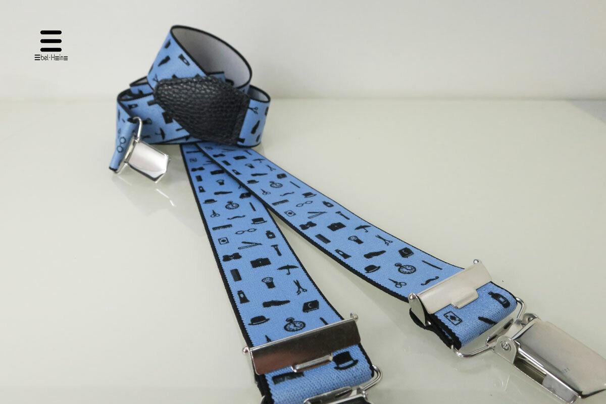 Hosenträger in Übergröße 140cm - blau - Mode-Motiv - passend zur Jeans/Business