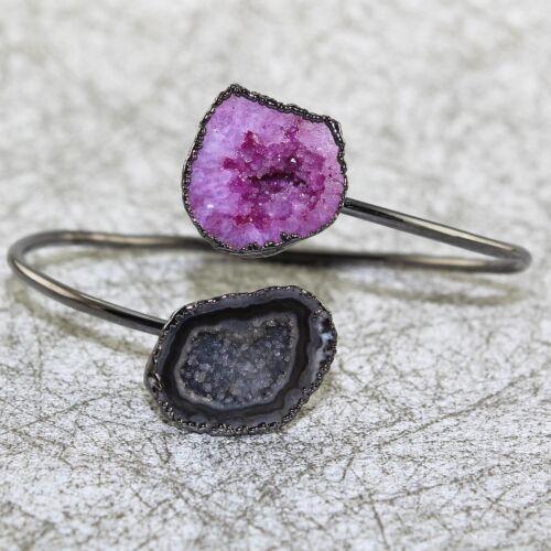 Colorful Natural Geode Druzy Black Rhodium Plated Adjustable Bangle Bracelet