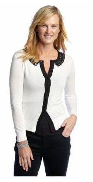 CYNTHIA Rowley Atlas Ivory Intarsia Collar Cardigan w Beaded Embellishment