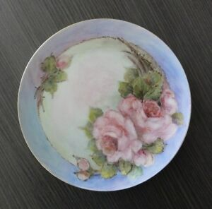 PINK APPLE BLOSSOM GREEN LEAVES BLUE SURROUND HAND PAINTED PLATE E. HUTCHINSON