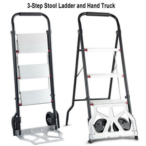 2 In 1 Convertible 3 Step Ladder Hand Truck Trolley Cart