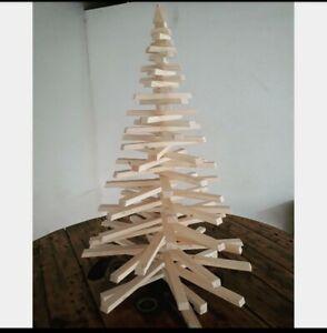 Alberi Di Natale In Legno.Albero Di Natale In Listelli Di Legno H 100cm Ebay