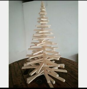 Albero Di Natale In Legno.Albero Di Natale In Listelli Di Legno H 100cm Ebay