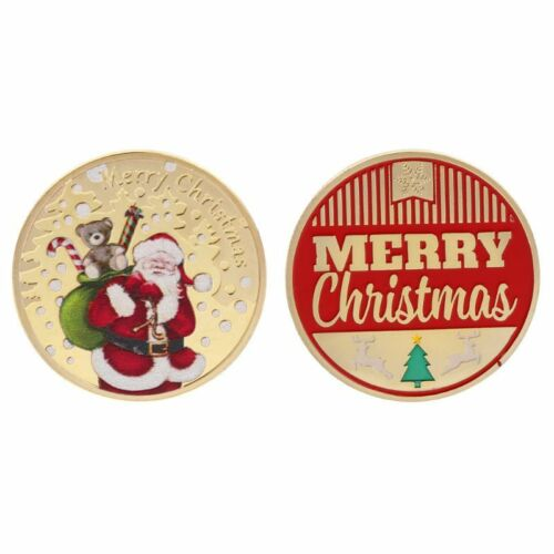 Christmas Commemorative Coin Santa Claus Gifts Present Souvenir New Year Crafts