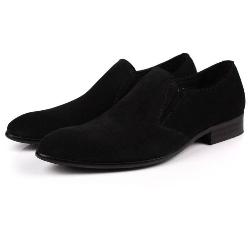 New New New Men's Suede Leather Dress Formal scarpe Slip on nero or blu W0802 e3a6f6