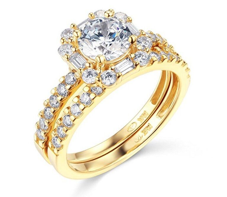 14K Solid Yellow gold 1.50 cttw Halo Cubic Zirconia Weddding Engagement Ring