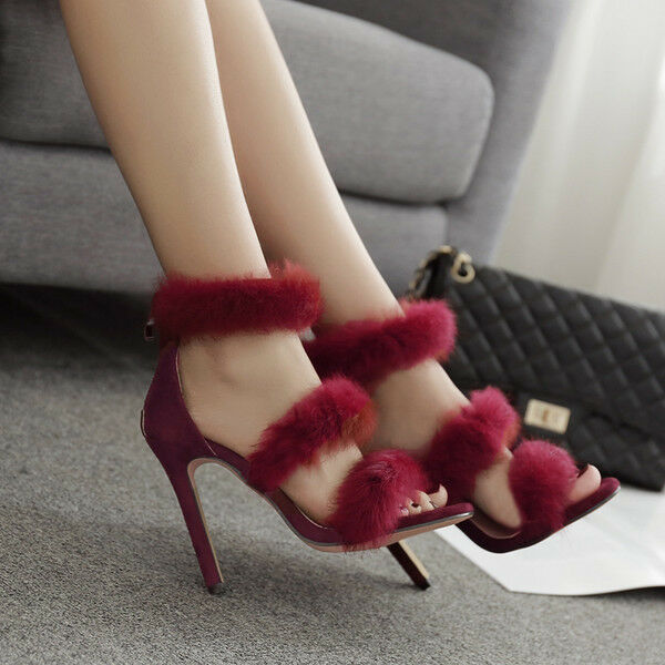 Sandali eleganti tacco stiletto 11 cm rojo velluto velluto velluto simil pelle eleganti 9724  de moda