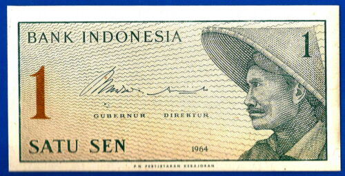 Indonesia 1 Satu Sen 1964 UNC Farmer Free Shipping Worldwide
