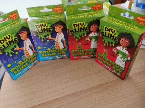 4 X PACKET of DIY Make Your Own BOUNCING SLIME /& STRETCHY SLIME KITS Party Gift