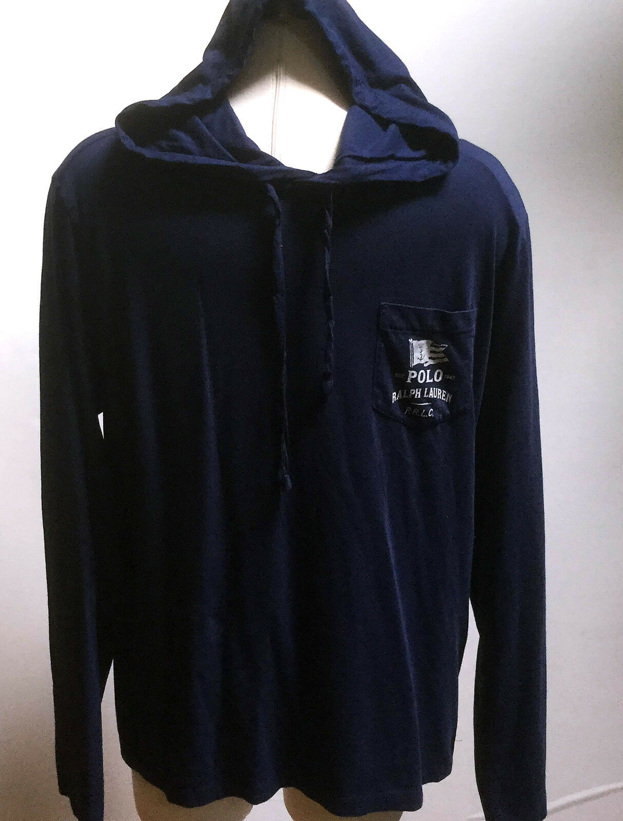 Polo Ralph Lauren Men Long Sleeves Light Weight Navy Hooded Sweatshirt  2X Large