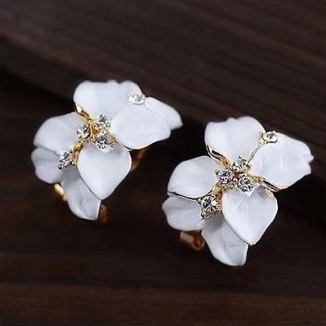 Fashion Women Gardenia Flower Crystal Ear Studs Rhinestone Hoop Buckle Earrings