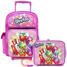 """Shopkins Large School Roller 16"""" Trolley Backpack Lunch Bag 2pc Set Bag MooseToy"""