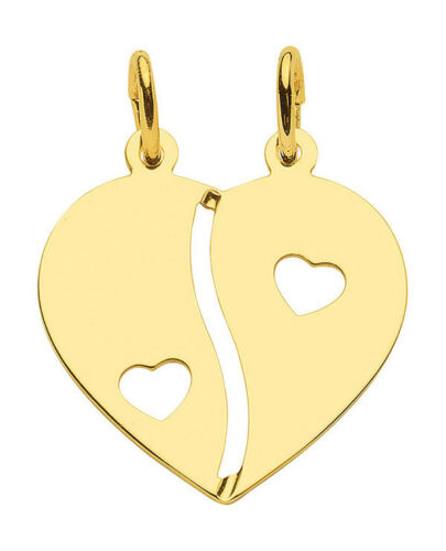 Partner Freundschafts Herz Anhänger teilbare Herzhälften Echt Gold 333 Gelbgold