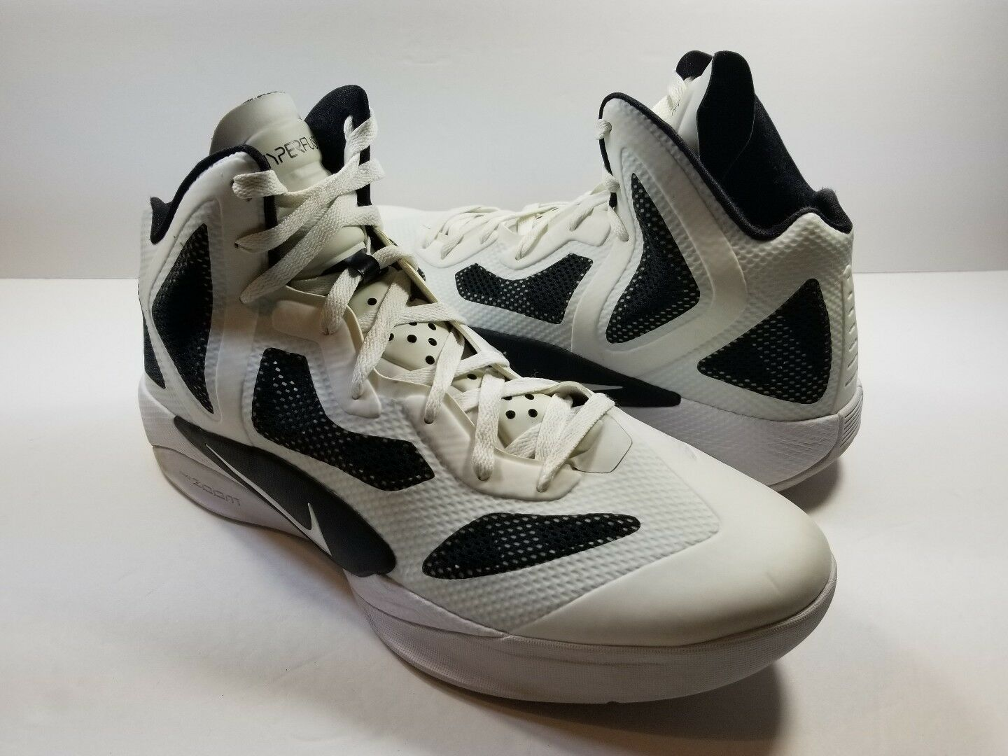 Nike Zoom Hyperfuse 2018 454146-100 White Black Men's Basketball Shoes - Sz 14