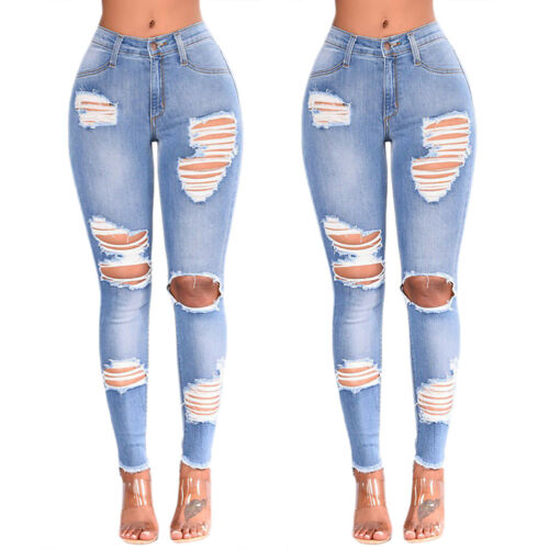 Women Ladies High Waist Skinny Denim Jeans Jeggings Ripped Stretch Long Trousers