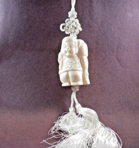 Pendant Necklace on Cord with Tassels Lucky God Bleached Figure Buffalo Bone BP2