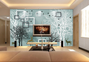 3D Tree Grid 4062 Wallpaper Murals Wall Print Wallpaper Mural AJ WALL UK Carly