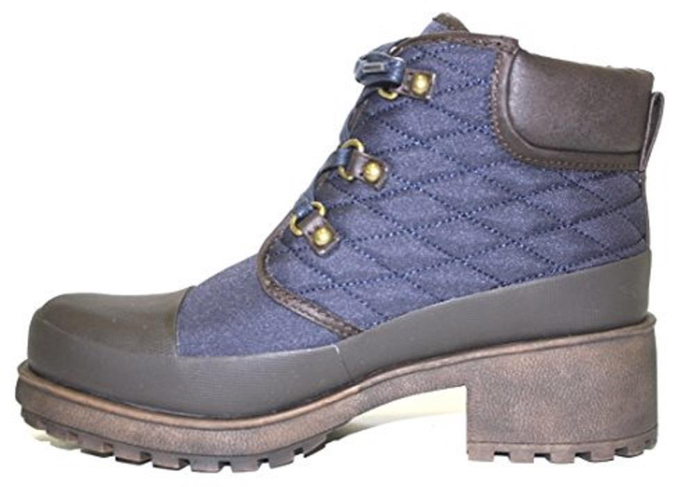 Women's Shoes Lucky Brand AKONN Quilted Booties Combat Boots Morrocan Blue/Java
