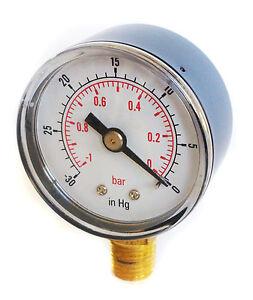 Vacuum-Gauge-30-Hg-amp-1-0-Bar-50mm-Dial-1-4-BSPT-Bottom-connection