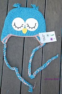Baby Kids Boys Blue parrot owl newborn crochet Knit Warm Beanie Prop hat