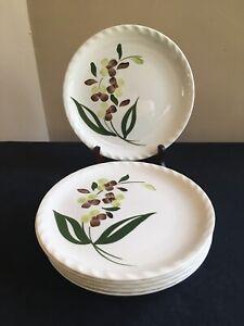SET-OF-6-Blue-Ridge-Southern-Pottery-SPRAY-9-3-8-034-Luncheon-Plates-EUC