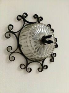 Applique Lampada a parete Stile SFERA in ferro BATTUTO GRANDE con boccia vetro