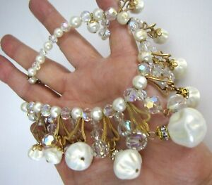 Vintage Garland Necklace Revival Filigree Baroque Pearl Chandelier AB Crystal