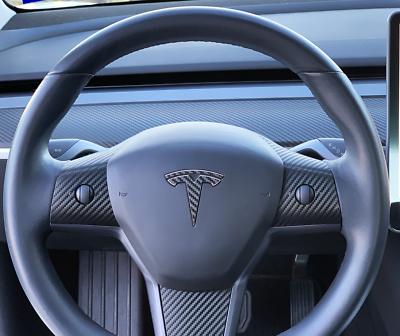 Cubierta de fibra de carbono del ajuste 2 PCS taza de agua coches limitantes fijador for el Tesla Model 3 piezas de coche de la decoraci/ón de fibra de carbo