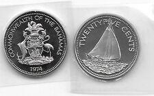 1974 BAHANAS 25 Cent Sailboat Proof