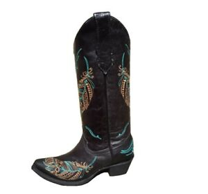 f10fa98ea1e Details about Circle G By Corral Ladies Embroidered Leather Cowgirl Western  Boots Black L5286