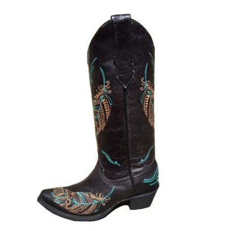 Circle G By Corral Ladies Embroidered Leather Cowgirl Western Boots Black L5286
