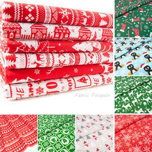 Christmas-Fabric-Red-Blue-Per-Metre-Half-Fat-Quarters-Bundle-Polycotton-Remnants