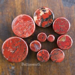 Pair-of-Red-Poppy-Jasper-Organic-Stone-Plugs-Double-Flared-2g-to-1-034-10-sizes