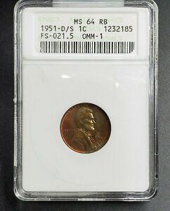 1951 D/S Lincoln Wheat Cent Penny Error ANACS MS64 RB FS-021.5 FS-511 Breen-2202