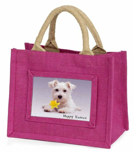 'Happy Easter' Westie Little Girls Small Pink Shopping Bag Christma, ADW7DA1BMP