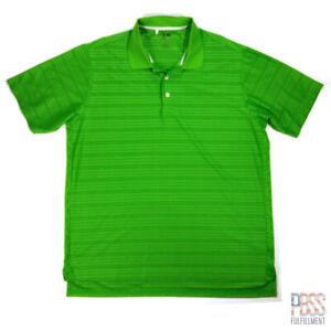 Adidas Golf Mens XL Short Sleeve Polyester Polo Shirt ClimaCool Striped Green