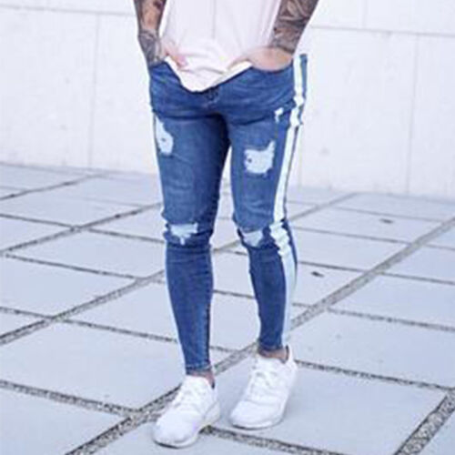 D Us Mens Jeans Striped Ripped 0UwxxYqS8