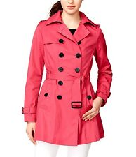 Bar Iii Double Breasted Skirted Trench Womens Coat Pink Msrp 150