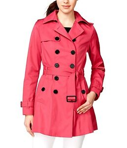 Bar-III-Double-Breasted-Skirted-Trench-Women-039-s-Coat-Pink-MSRP-150