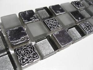 Das Bild Wird Geladen Naturstein Borduere Fliese Mosaik  Glas Ornament Klarglas Silber