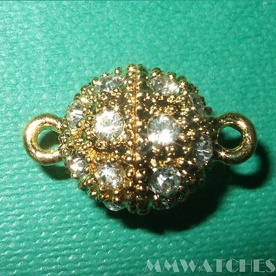 GOLD COLOUR CLEAR RHINESTONE CRYSTAL MAGNETIC BALL CLASPS STRONG MAGNET MC02