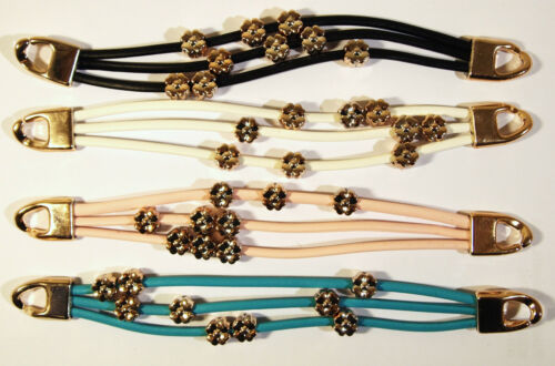A Beautiful Geniune Leather Bracelet With Golden Flower Beads
