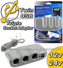 12v 24v 3 Vie per Auto Camion Accendisigari Multi Presa Splitter Adattatore USB pc37