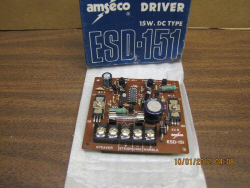 NEW AMSECO ESD-151 SIREN DRIVER 15W DC TYPE 01 A ESD151